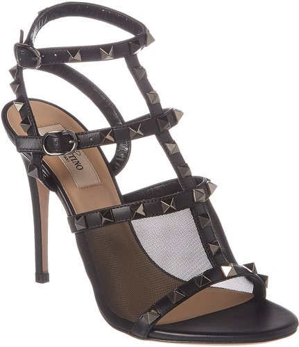 Valentino Rockstud Caged 105 Leather & Mesh Ankle Strap Pump