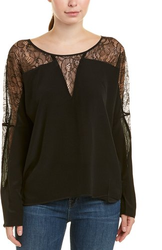 Gold Hawk Lace Insert Silk Top