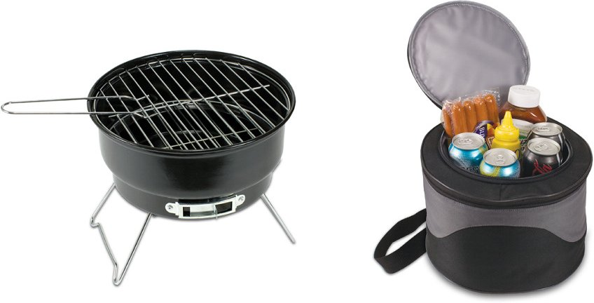Picnic Time Caliente Compact Portable BBQ Grill and Cooler Combo