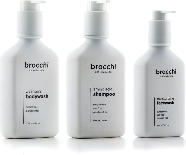 BROCCHI 3pc Wet Set: Face Wash, Shampoo, & Body Wash Bundle