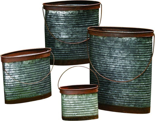 Set of 4 Transpac Metal Silver Spring Rustic Containers