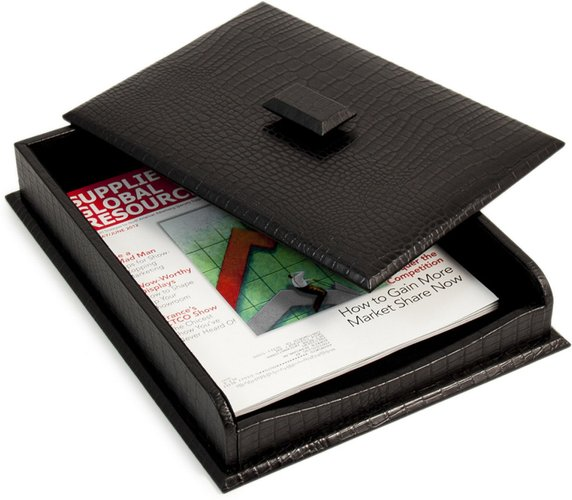 Bey-Berk Leath Letter Tray with Cover