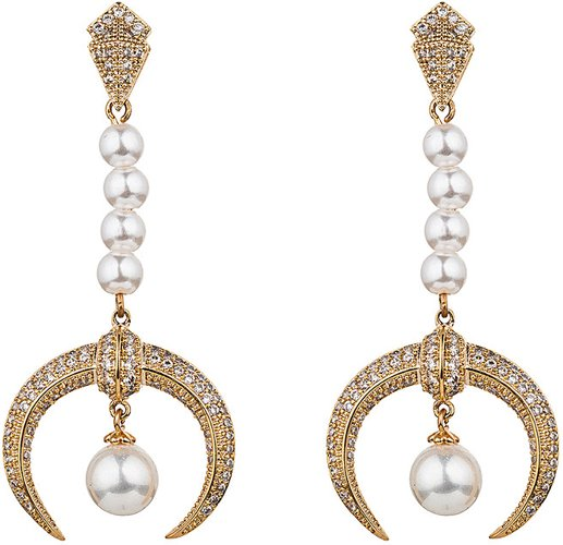 Eye Candy LA Half Moon 18K Gold Plated CZ Fresh Water Pearl Earrings