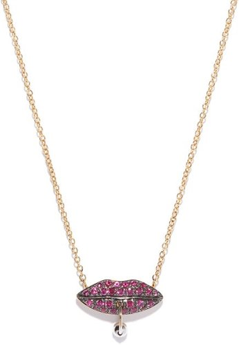 Pierced Lips 18kt Gold & Ruby Necklace - Womens - Yellow Gold