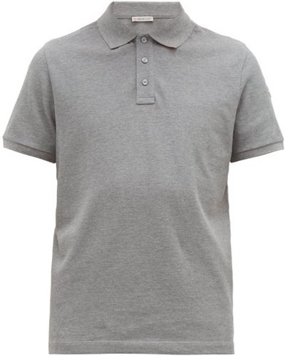 Logo-appliqué Cotton-piqué Polo Shirt - Mens - Grey