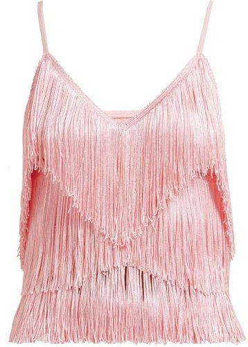 Tiered-fringe Stretch-jersey Crop Top - Womens - Pink