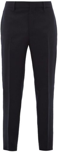 Tapered-leg Wool Suit Trousers - Mens - Navy