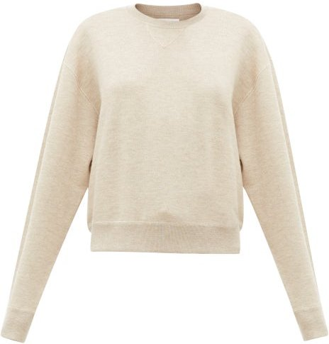 Dropped-sleeve Cashmere-blend Sweater - Womens - Beige