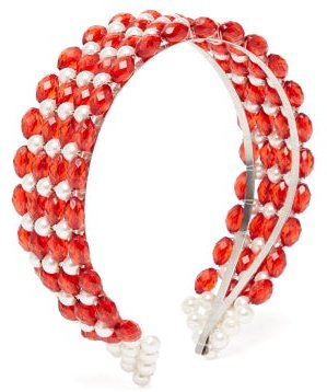 Bevelled-bead And Faux Pearl-embellished Headband - Womens - Red