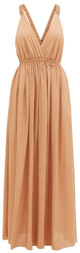 The Crossback Plunge Maxi Dress - Womens - Light Brown