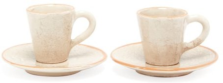 Set Of Two Ceramic Cups And Saucers - Cream