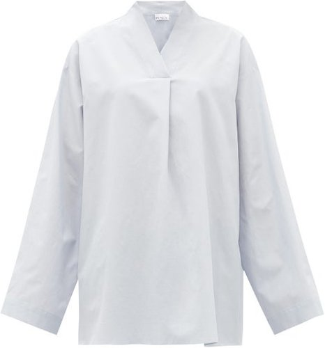 High V-neck Cotton And Silk-blend Smock Blouse - Womens - Blue