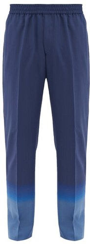 Gradient Wool-twill Suit Trousers - Mens - Blue