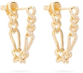 Pavé-crystal Gold-plated Sterling-silver Earrings - Womens - Yellow Gold