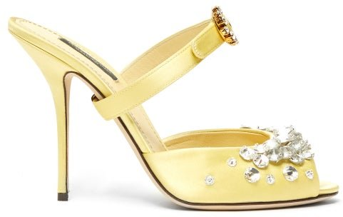 Crystal-embellished Satin Sandals - Womens - Yellow