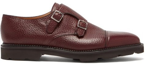 William Monk-strap Leather Shoes - Mens - Burgundy