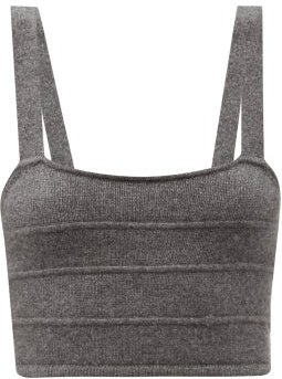 Organic-cashmere Knitted Bralette - Womens - Grey Marl
