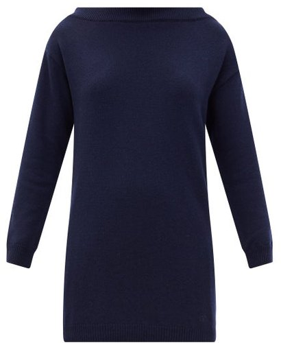 Boat-neck Cashmere Longline Sweater - Womens - Navy