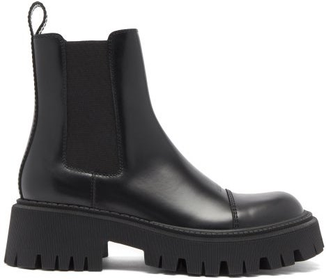 Tracker Lug-sole Leather Chelsea Boots - Womens - Black
