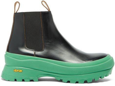 Chunky-sole Leather Chelsea Boots - Womens - Black Green