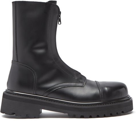 Leather Ankle Boots - Womens - Black