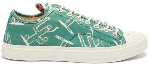 Ballow Printed Cotton-canvas Trainers - Mens - Green White