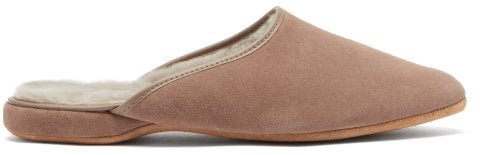 Douglas Shearling-lined Suede Slippers - Mens - Beige