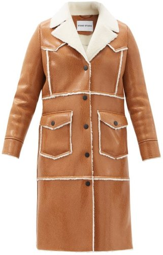 Adele Faux Shearling-trimmed Faux-leather Coat - Womens - Camel