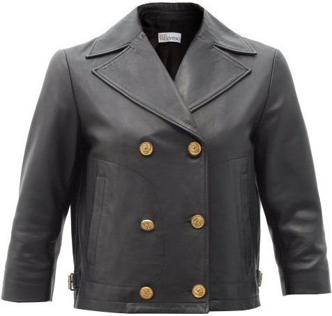 Cropped Double-breasted Leather Jacket - Womens - Black