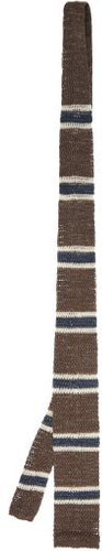 Striped Cotton And Linen-blend Knitted Tie - Mens - Brown Multi