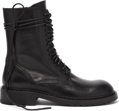 Lace-up Leather Boots - Womens - Black