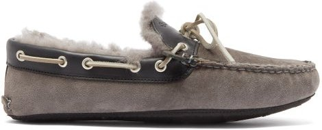 Fireside Suede And Shearling Slippers - Mens - Grey