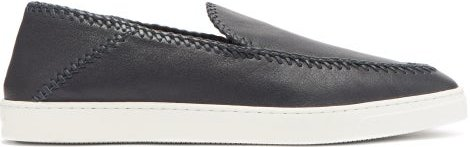 Whipstitched Collapsible-heel Leather Loafers - Mens - Navy