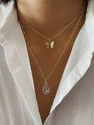 Simple Double Zircon Micro Inlaid Drop Pendant Butterfly Necklace online stores, online,