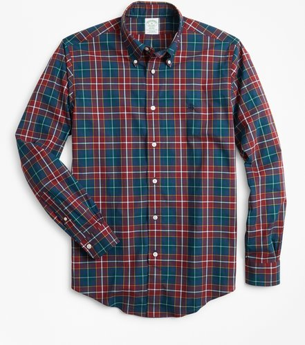 Milano Fit Burgundy Plaid Zephyr Sport Shirt