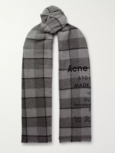 Fringed Printed Checked Wool Scarf - Men - Gray