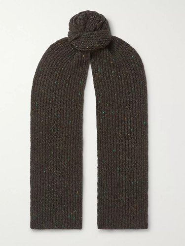 Ribbed Mélange Merino Wool and Cashmere-Blend Scarf - Men - Green