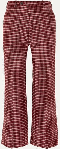 Cropped Checked Wool-blend Wide-leg Pants - Red