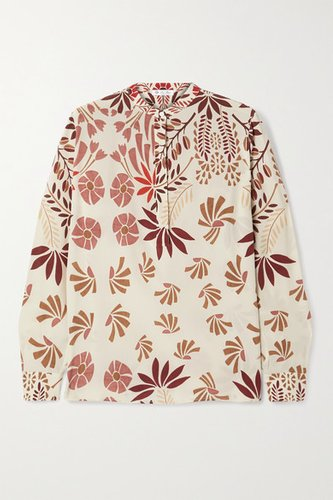 Floral-print Silk-crepe Blouse - Off-white