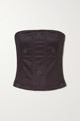Net Sustain Lucy Embroidered Cotton-blend Bustier Top - Navy