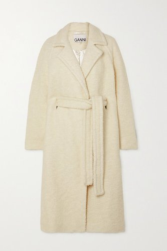 Belted Double-breasted Wool-blend Bouclé Coat - Off-white