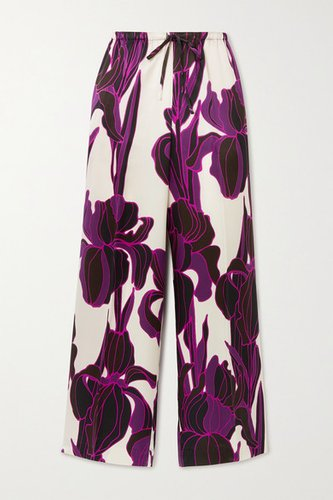Floral-print Silk Wide-leg Pants - Purple