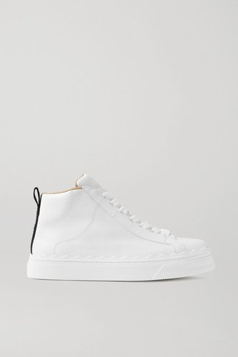 Lauren Scalloped Leather High-top Sneakers - White
