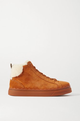 Lauren Shearling-lined Scalloped Suede High-top Sneakers - Tan