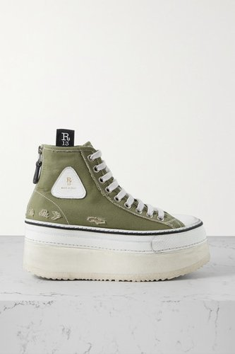 Grosgrain-trimmed Distressed Canvas Platform High-top Sneakers - Army green
