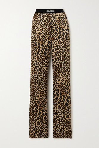 Velvet-trimmed Leopard-print Stretch-silk Satin Pants - Brown