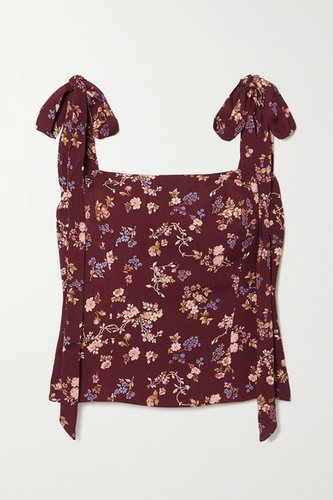 Net Sustain Ellora Tie-detailed Floral-print Crepe De Chine Top - Plum