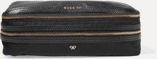 Make Up Leather-trimmed Shell Cosmetics Case - Black