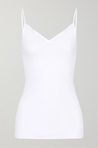 Satin-trimmed Mercerized Cotton Camisole - White