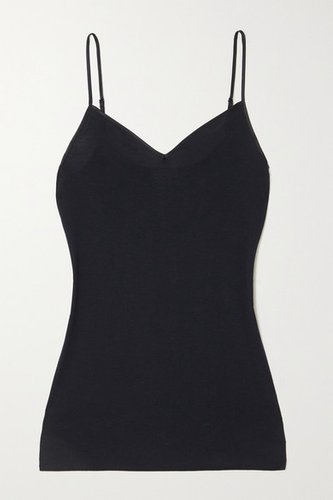 Satin-trimmed Mercerized Cotton Camisole - Black